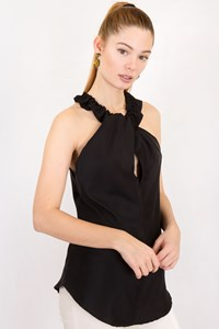 A Common Thread Black Silk Halterneck Top / Size: S - Fit: True to size